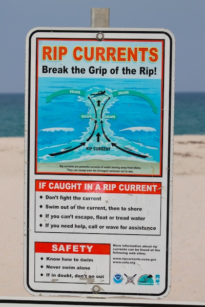 rip current beach sign
