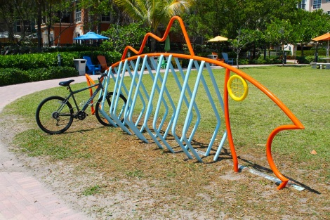 This is a fishy bicycle rack!