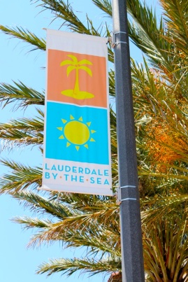 Seasonal flags are found on all street lights. Some announce town events, like their local farmer's market.