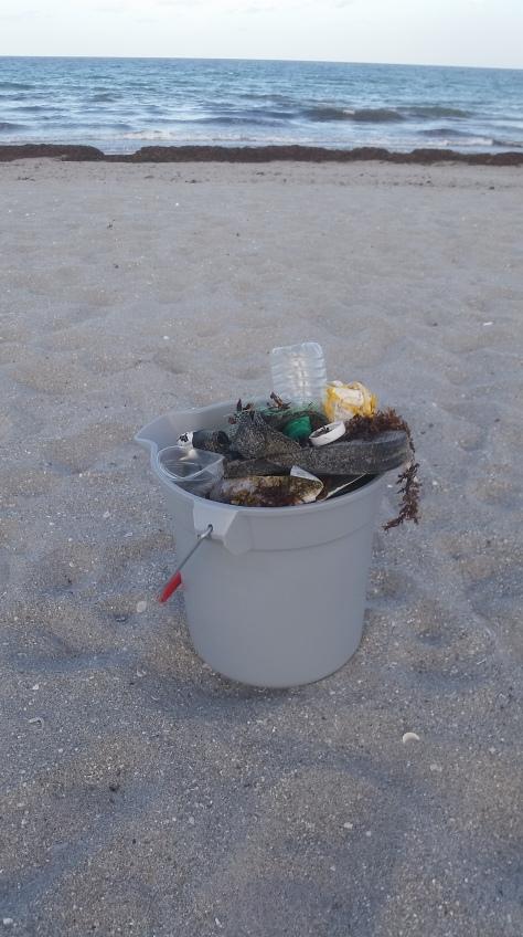 bucket and ocean